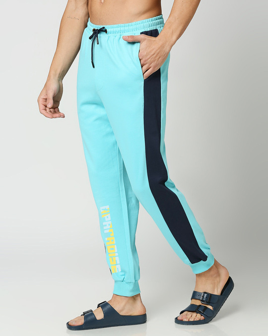 Shop Beach Blue Color Block Joggers-Back