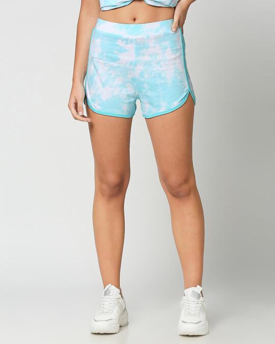 Shop Beach Blue Tie & Dye Print Shorts-Front