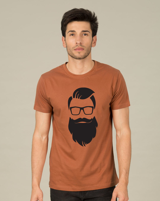 Shop Beard Man Half Sleeve T-Shirt-Back