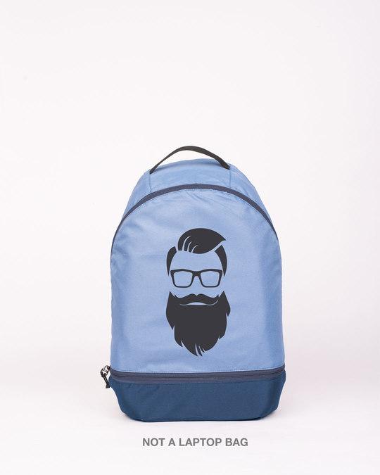 Shop Beard Man Minimal Printed Small Backpack-Front