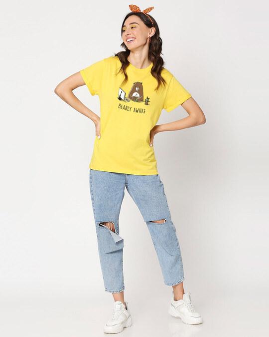 Shop Bearly Awake Boyfriend T-Shirts Empire Yellow -Full