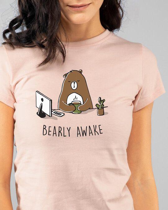 Shop Bearly Awake Half Sleeve Printed T-Shirt Baby Pink  -Back
