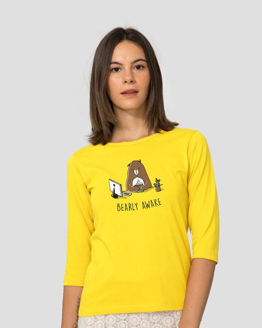 Shop Bearly Awake Round Neck 3/4 Sleeve T-Shirts Pineapple Yellow  -Front