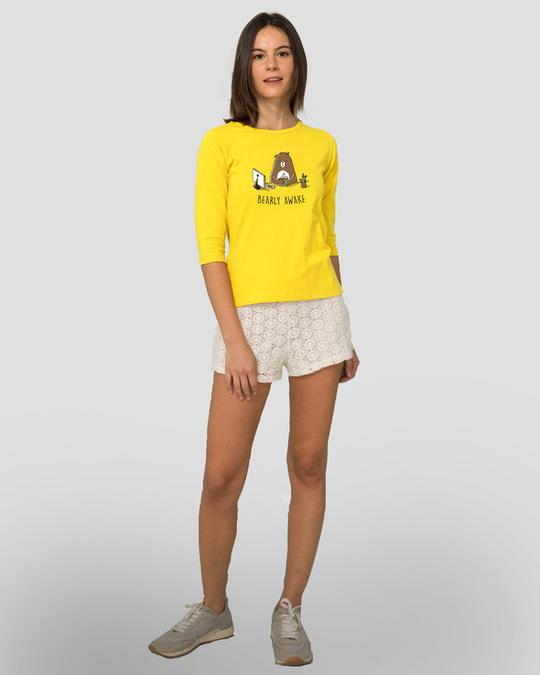 Shop Bearly Awake Round Neck 3/4 Sleeve T-Shirts Pineapple Yellow  -Full