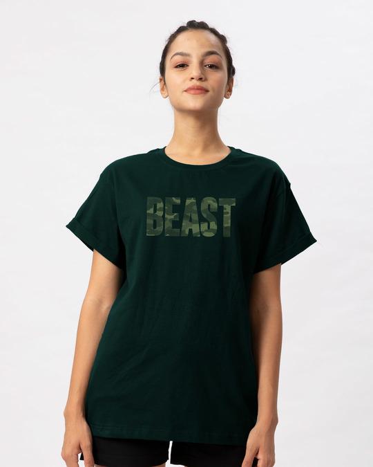 Shop Beast Camouflage Boyfriend T-Shirt-Front