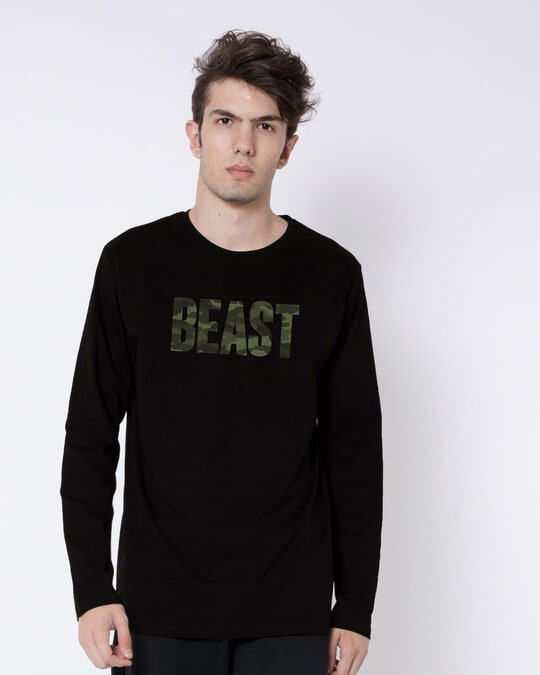 Shop Beast Camouflage Full Sleeve T-Shirt-Front