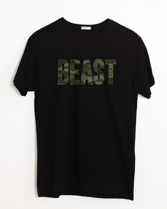 Shop Beast Camouflage Half Sleeve T-Shirt-Front