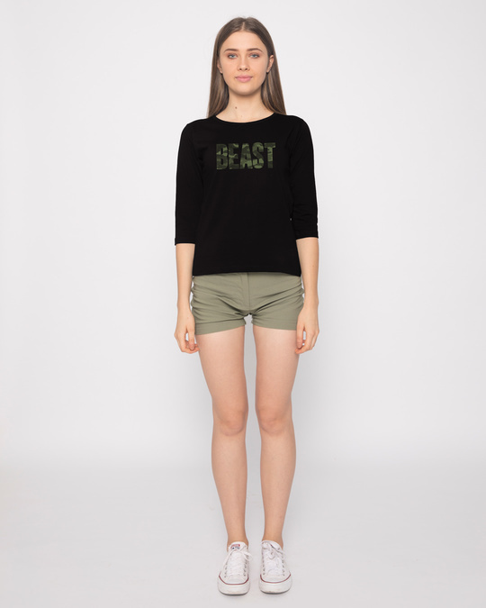 Shop Beast Camouflage Round Neck 3/4th Sleeve T-Shirt-Full