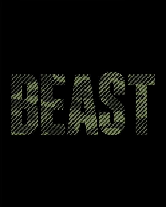 Shop Beast Camouflage Round Neck 3/4th Sleeve T-Shirt
