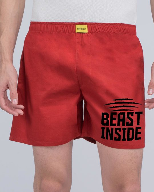 Shop Beast Inside Side Printed Boxer-Back