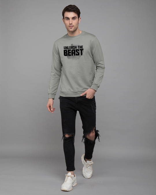Shop Beast Is Unleashed Fleece Light Sweatshirt-Design