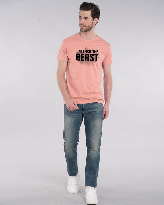 Shop Beast Is Unleashed Half Sleeve T-Shirt-Design