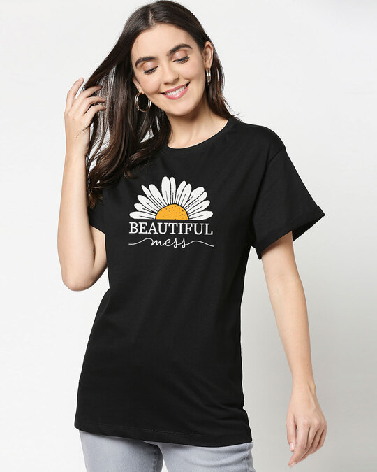 Shop Beautiful Mess Flower Boyfriend T-Shirts Black-Front