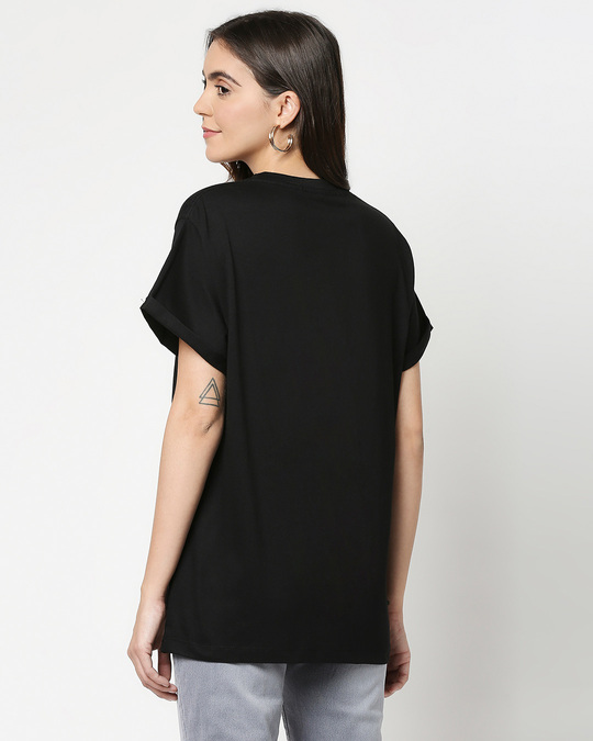 Shop Beautiful Mess Flower Boyfriend T-Shirts Black-Back