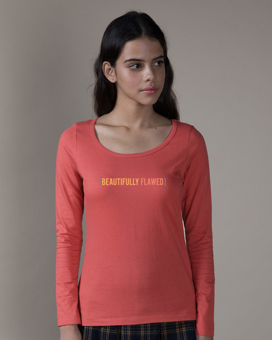 Shop Beautifully Flawed Scoop Neck Full Sleeve T-Shirt-Front