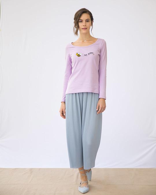 Shop Bee Happy Scoop Neck Full Sleeve T-Shirt-Design