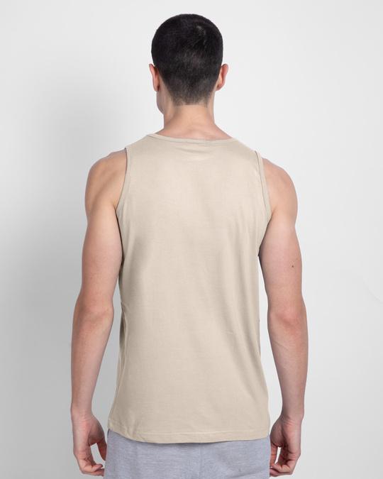 Shop Men's Plain Round Neck Vest Pack of 2 (Beige & Tropical Blue)-Full