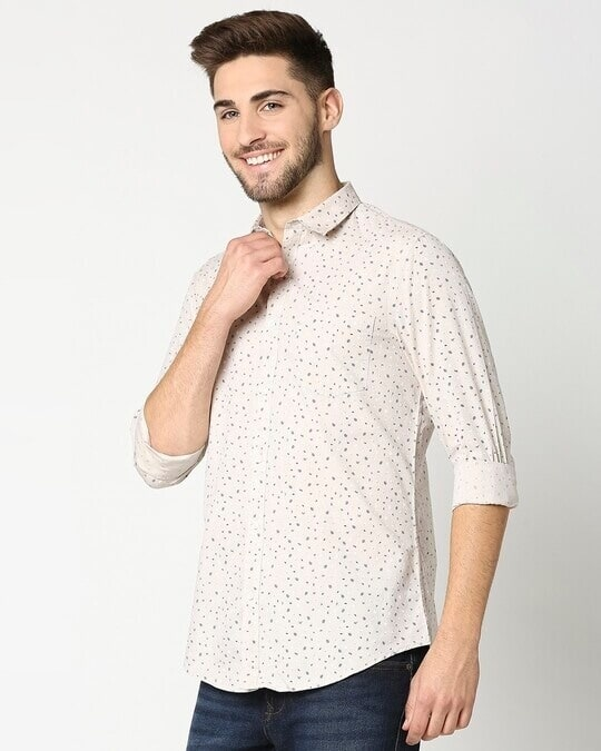Shop Beige Cotton Melange Shirt-Design