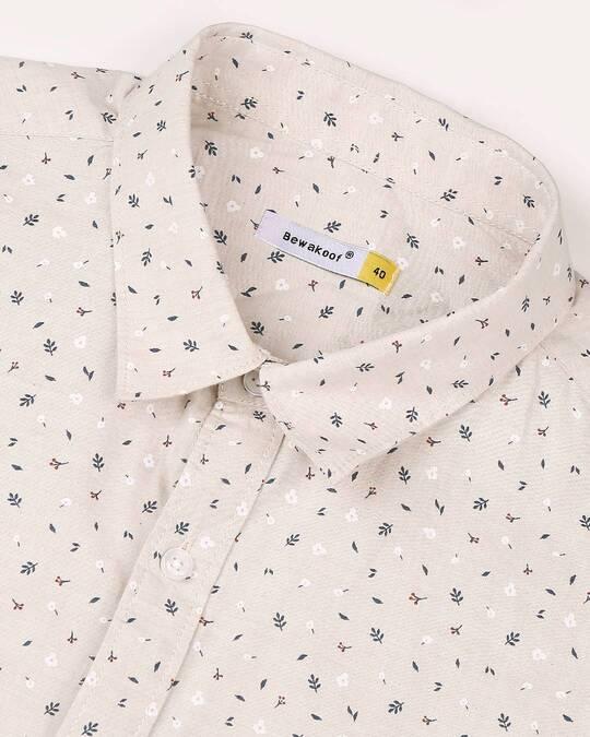 Shop Beige Cotton Melange Shirt