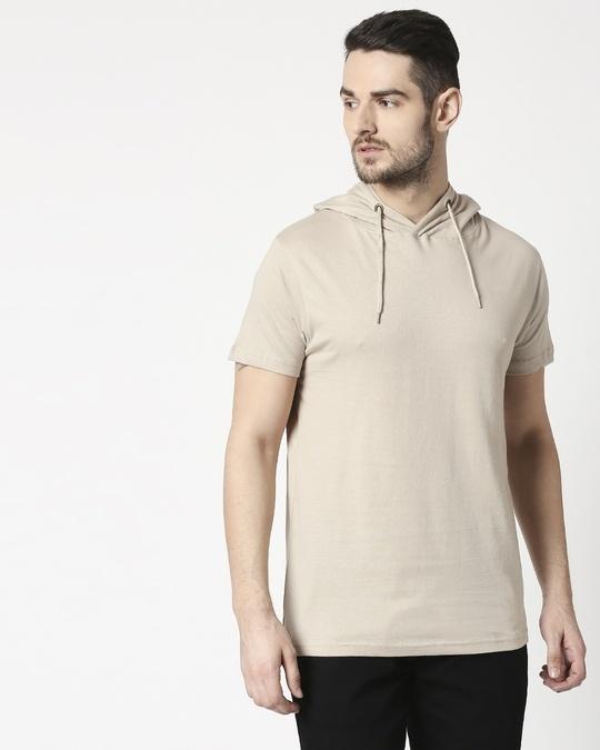 Shop Beige Grey Half Sleeve Hoodie T-Shirt-Back