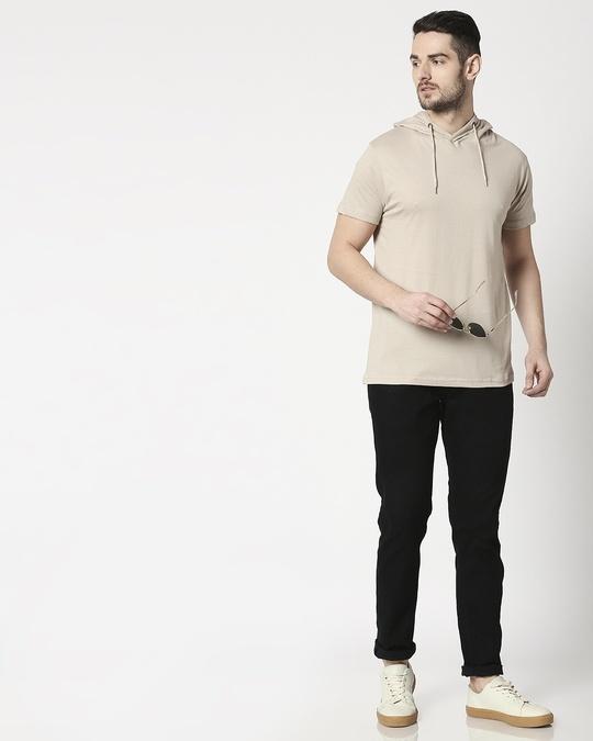 Shop Beige Grey Half Sleeve Hoodie T-Shirt
