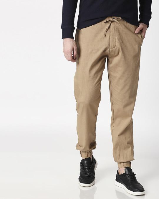 Shop Desert Beige Cotton Jogger Pants-Back