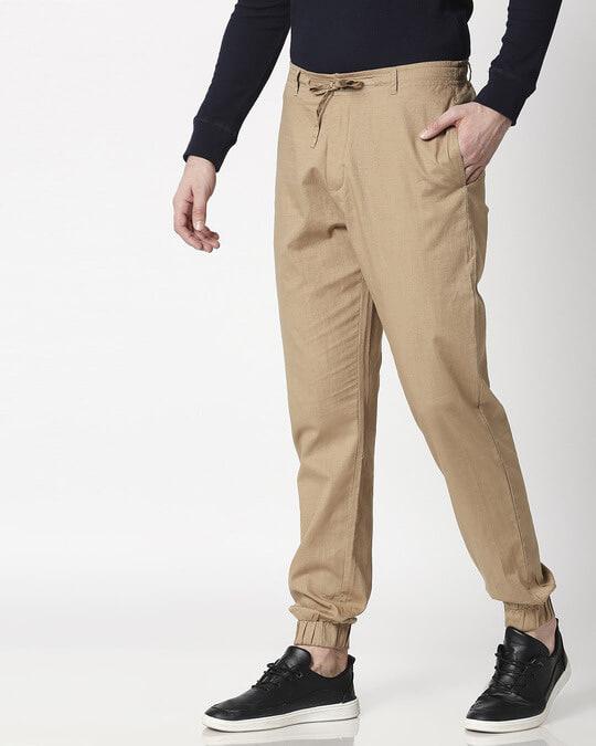 Shop Desert Beige Cotton Jogger Pants-Full