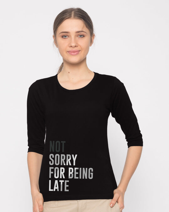 Shop Being Late Round Neck 3/4th Sleeve T-Shirt-Front