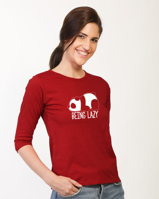 Shop Being Lazy Round Neck 3/4th Sleeve T-Shirt-Back