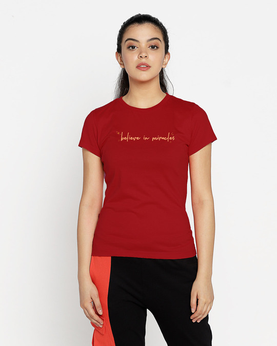 Shop Believe In Miracles Half Sleeve T-Shirt Bold Red-Back