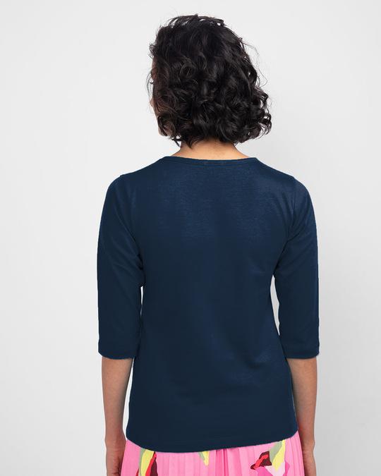 Shop Believe In Wonder Round Neck 3/4 Sleeve T-Shirt Navy Blue (DCL)-Design