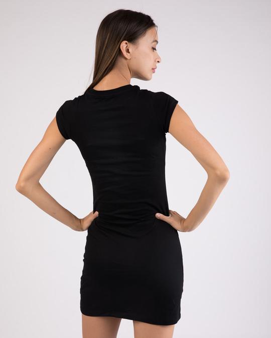 Shop Believe in wonder woman  Cap Sleeve Printed T-Shirt Dress Black (DCL)-Back