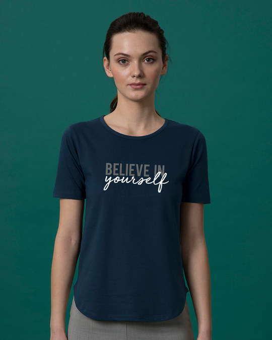 Shop Believe In You Basic Round Hem T-Shirt-Front