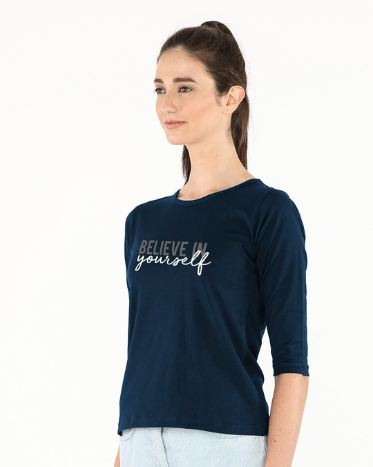 Shop Believe In You Round Neck 3/4th Sleeve T-Shirt-Back