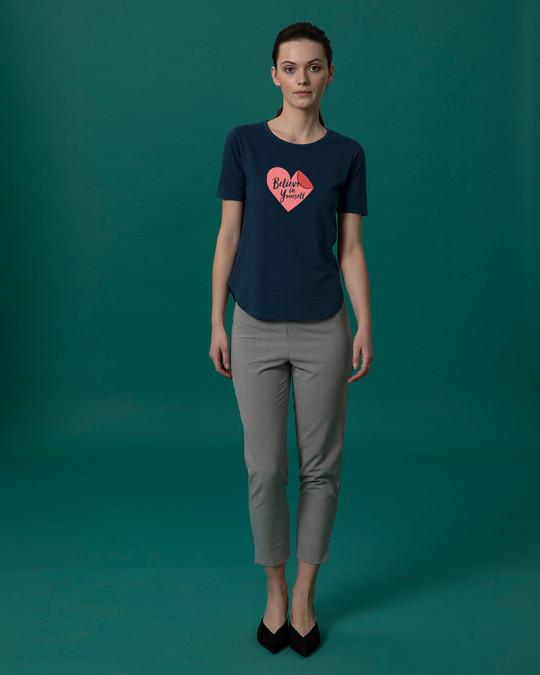 Shop Believe Sticker Basic Round Hem T-Shirt-Full