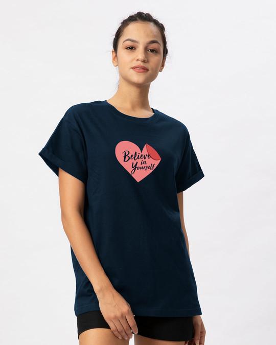 Shop Believe Sticker Boyfriend T-Shirt-Back