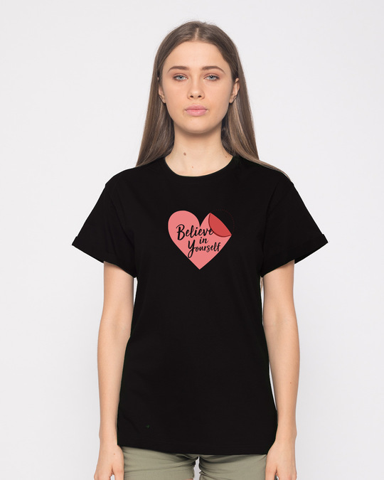 Shop Believe Sticker Boyfriend T-Shirt-Front