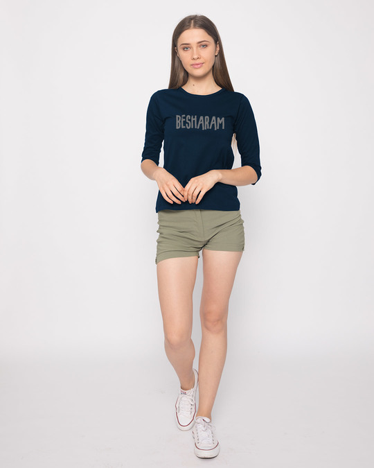 Shop Besharam Round Neck 3/4th Sleeve T-Shirt-Full