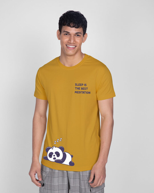 Shop Best Motivation Half Sleeve T-Shirt Mustard Yellow -Back