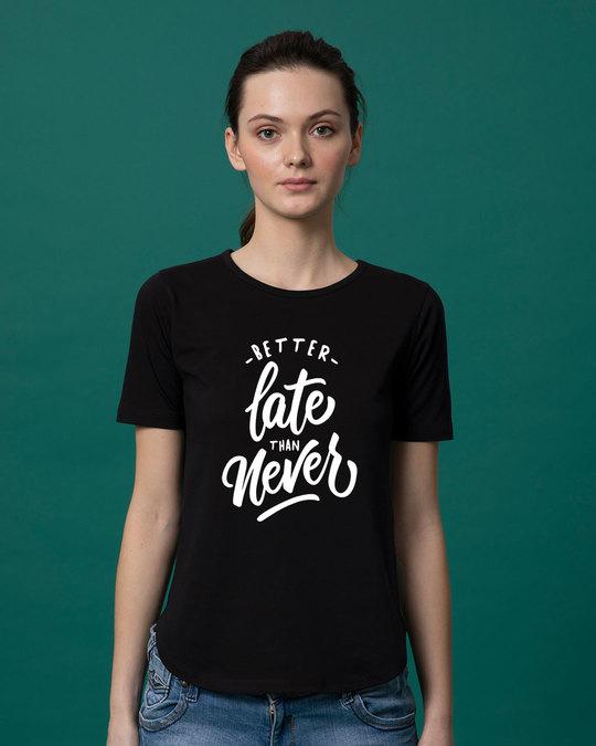 Shop Better Late Basic Round Hem T-Shirt-Front