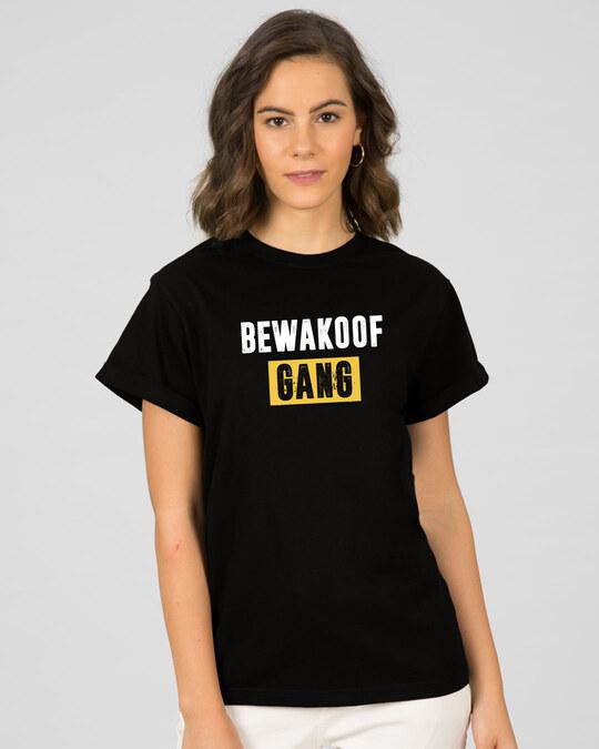 Shop Bewakoof Gang Boyfriend T-Shirt Black-Front