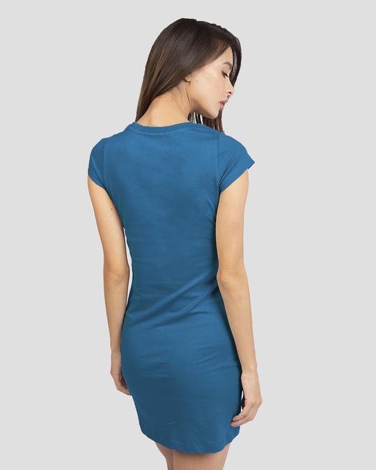 Shop Bewakoof Tape Cap Sleeve Printed T-Shirt Dress-Back