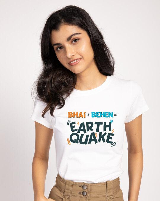 Shop Bhai Behen Earthquake Half Sleeve T-shirt-Front