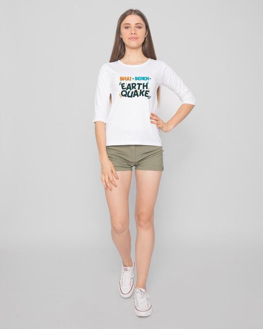 Shop Bhai Behen Earthquake Round Neck 3/4 Sleeve T-Shirts-Full