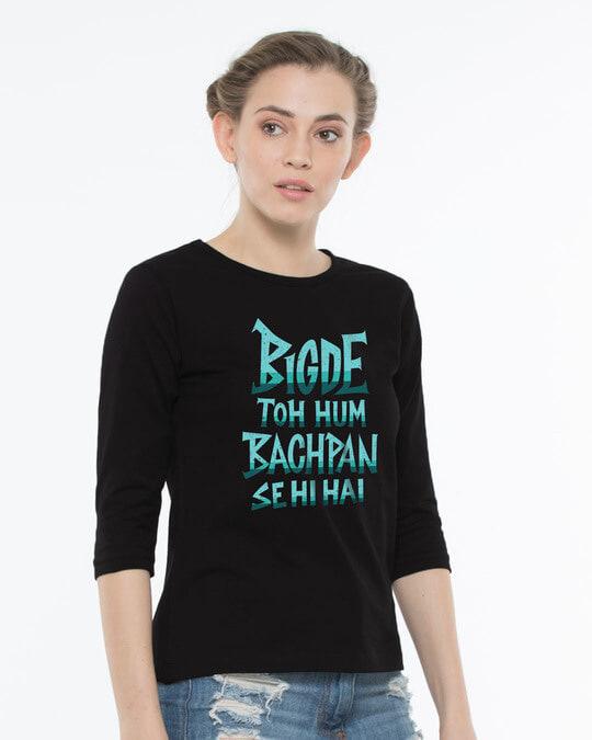 Shop Bigde Hue Round Neck 3/4th Sleeve T-Shirt-Back