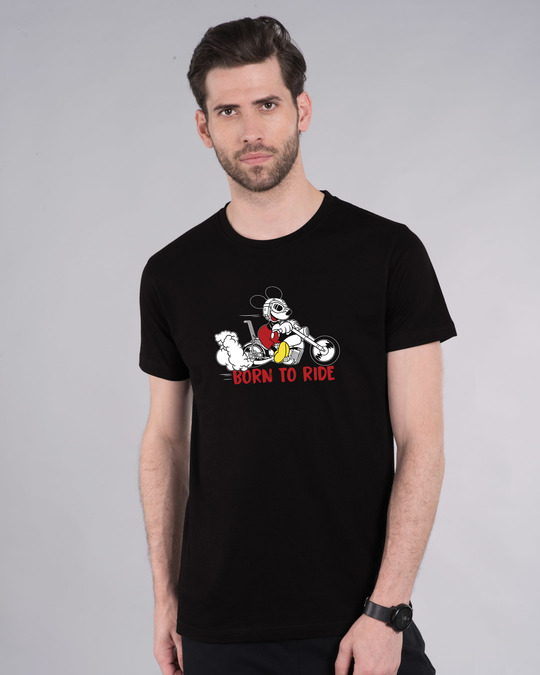 Shop Bike Mickey Half Sleeve T-Shirt (DL)-Front