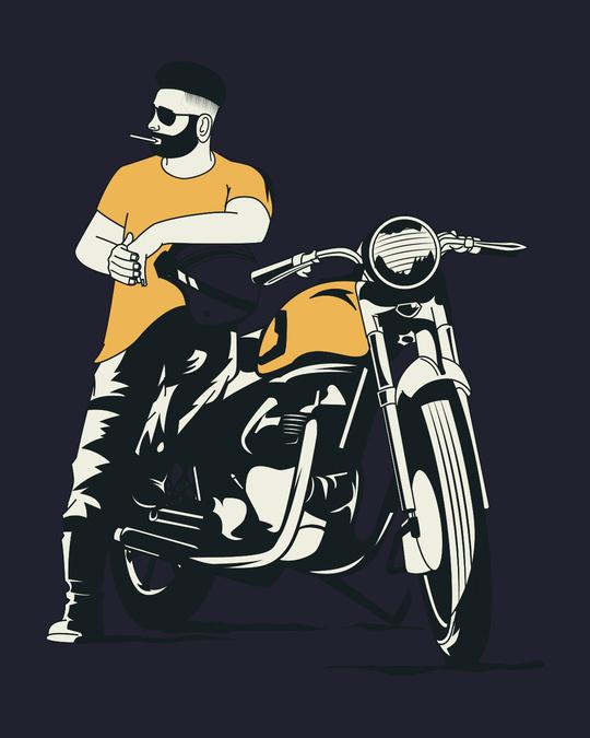 Shop Biker Bro Contrast Binding Round Neck Vest-Full