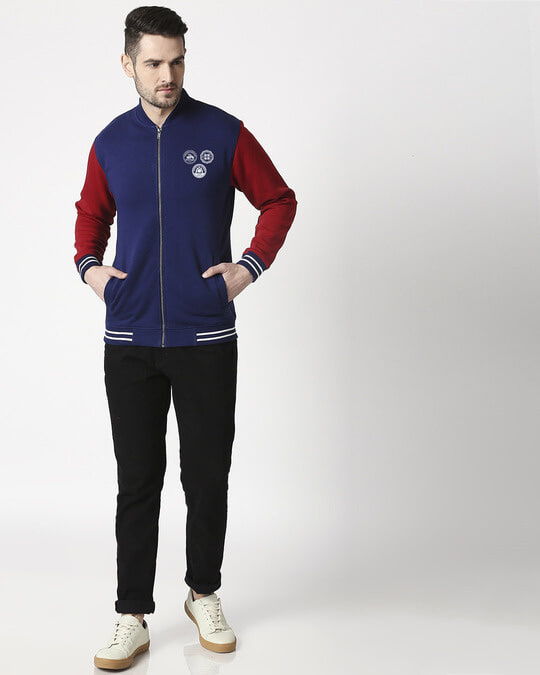 Shop Bikers Badge Varsity Bomber Jacket-Full