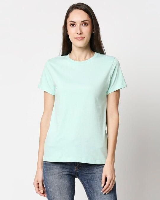 Shop Bird Egg Green Half Sleeve Relaxed Fit T-Shirt-Back