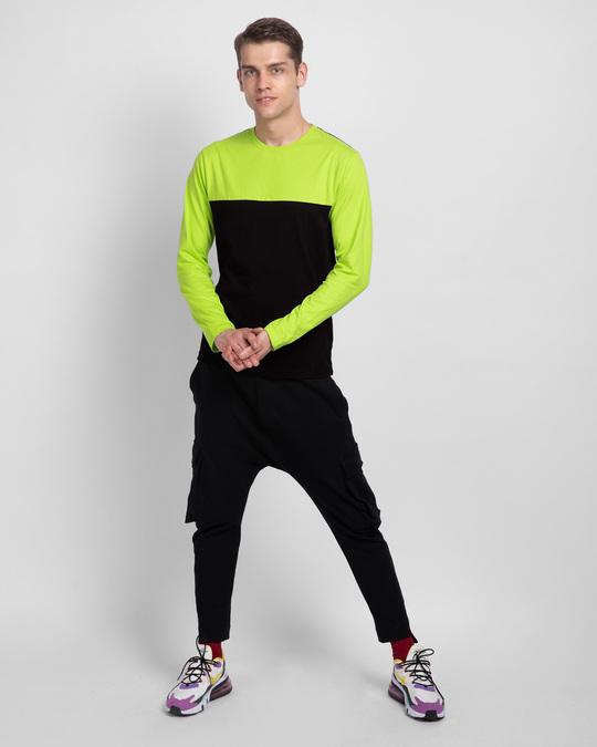 Shop Black & Neon Green 90's Vibe Panel T-Shirt